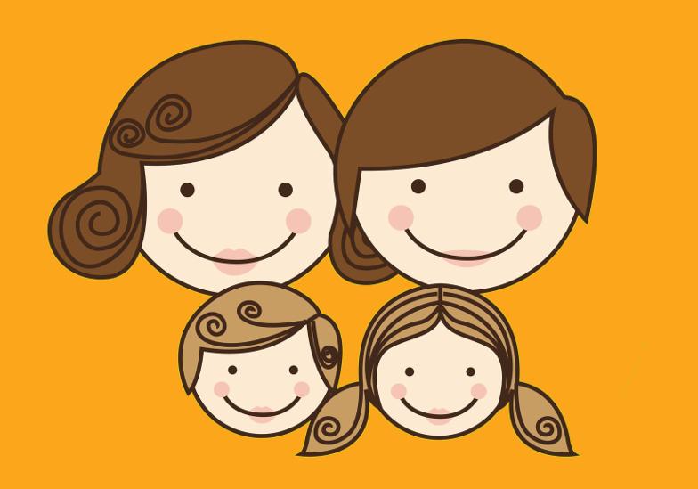 Klubik JESTEM Rodzicem - Fundacja Zobacz... JESTEM - grafika, usmiechnieta rodzina, pomaranczowe tło