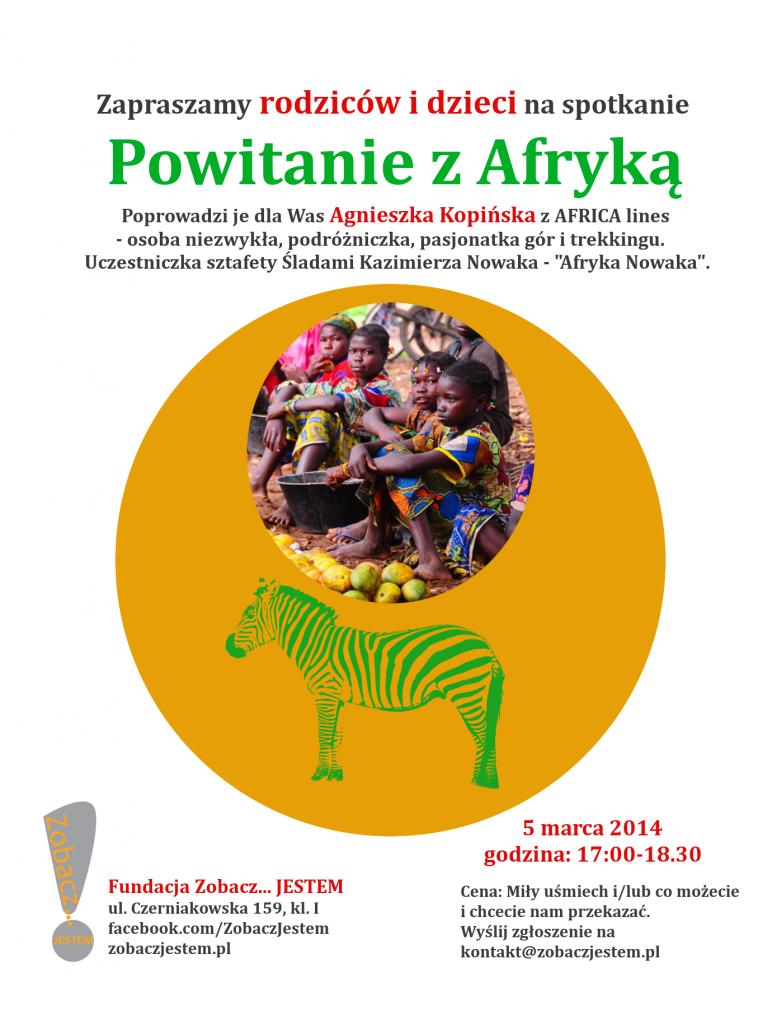 Plakat Powitanie z Afryka - Fundacja Zobacz... JESTEM