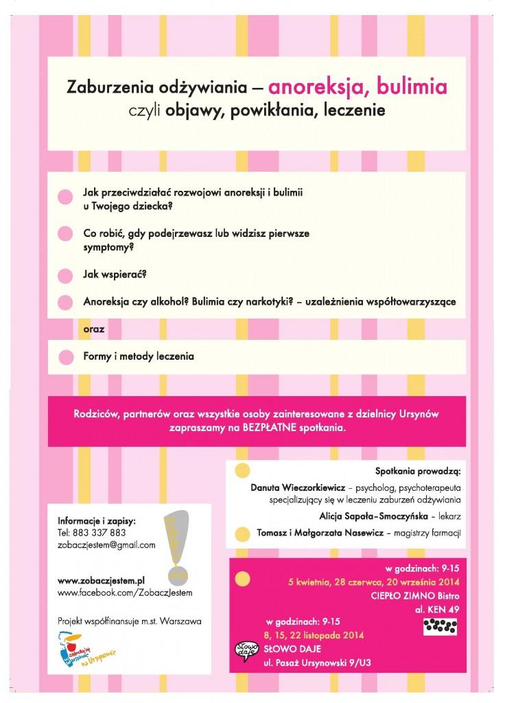 Bezpłatne spotkania Zaburzenia odżywiania u dzieci - anoreksja, bulimia - Fundacja Zobacz... JESTEM - plakat