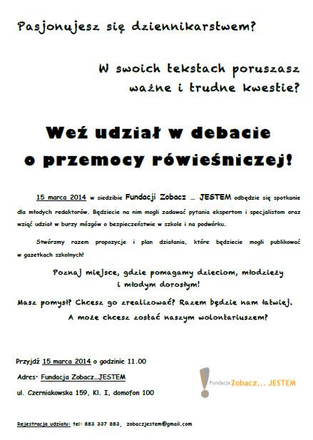 Debata o przemocy rówieśniczej - zaproszenie dla młodych dziennikarzy-Fundacja Zobacz... JESTEM
