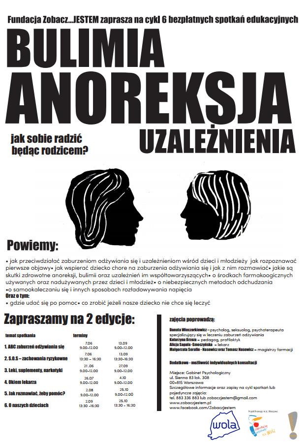 Anoreksja, bulimia, uzależnienia - spotkania dla rodziców - Fundacja Zobacz... JESTEM