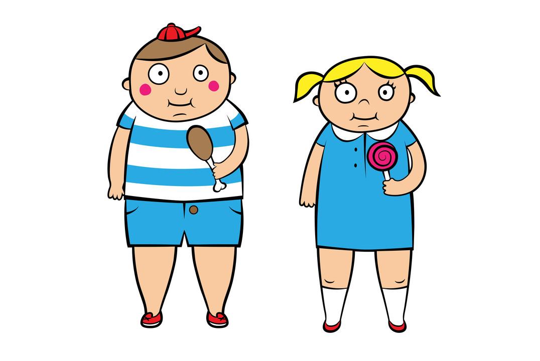 Nadwaga-i-otyłość-u-dzieci-i-młodzieży, dwoje grubych dzieci trzymających jedzenie, rysunek