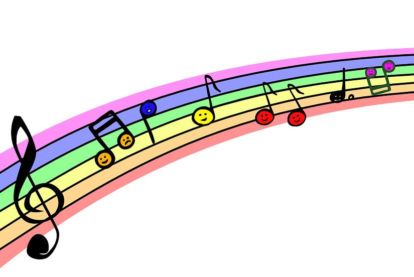 Zabawy z muzyką z dzieckiem wesołe nutki na tęczy zabawy z dzieckiem